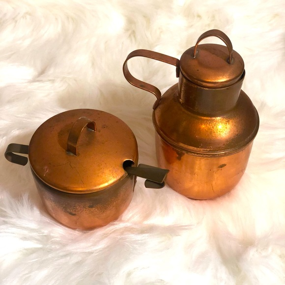 Vintage copper creamer and sugar bowl